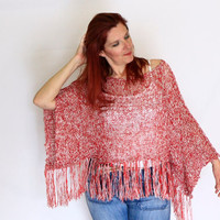 Boho sweater shrug summer wrap, boho shrug, fringe poncho, Electra, in red white, vegan friendly