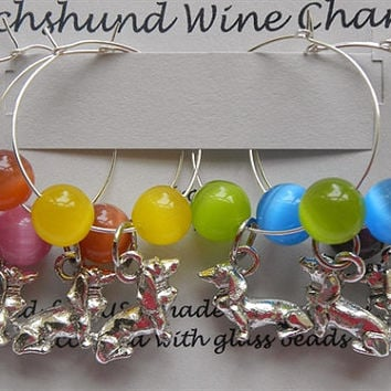 Dachshund Wine Charms, Wiener Dog Wine Charms *** Exclusively Ours ***