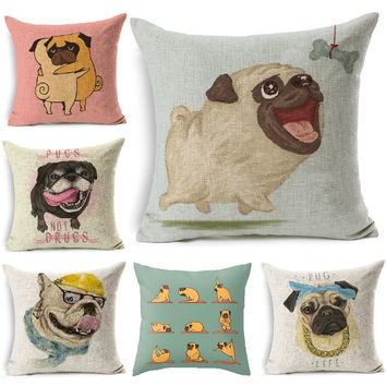 New Cushion Cover Dog Pugs Printing Linen Throw Pillow Animals Pillows Cover Car Sofa Home Decorative Pillowcase decorativos