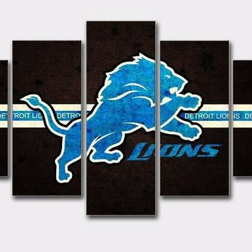 AtFipan Poster And Prints Detroit Lions Sport Boys Room Deco Painting On Canvas Unframed Modern Wall Pictures For Living room