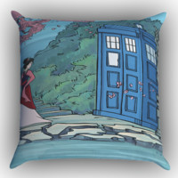Mulan Tardis Zippered Pillows  Covers 16x16, 18x18, 20x20 Inches