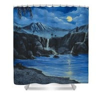 Moonlight and Waterfalls Shower Curtain