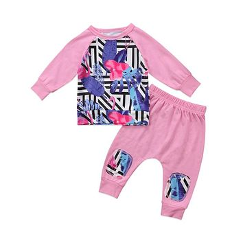 Baby Girl Flamingo Clothes Set Newborn Unisex Cotton Leaf Top Hoodie Pants Outfits Fall Baby Boy Clothes Sets
