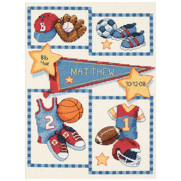 """Baby Hugs Little Sports Birth Record Counted Cross Stitch Ki-9""""""""X12"""""""" 14 Count"""