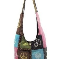 Hobo Bohemian Hippie Om, Peace Sign Shoulder Sling Cross Body with Breaded Strap Heavy Duty Zipper Locking Inside Pocket Monk Bag Handmade Purse Nepal By Shangrila Nook