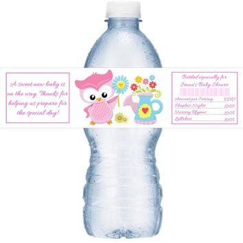 21 Pink Owl Baby Shower Water Bottle Labels