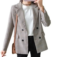Plaid Blazer Women 2018 Double Breasted Winter Coat Woman Blazers Feminino Casual Work Suit Long Sleeve Jacket Mujer Chic Cotton