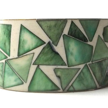 vintage 60s modernist triangle bangle brass & bone bracelet inlay fresh green white geometric metal women heavy weight wide oversize large