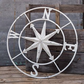 Distressed Antique White Metal Rose Compass Wall Decor -- 30-in