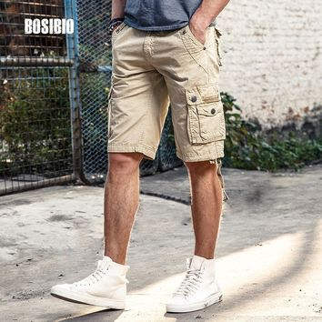 Summer Mens Camo Military Cargo Shorts Work Casual Loose Khaki Solid 100% Cotton Short Pants Top Selling Plus Size FH3232