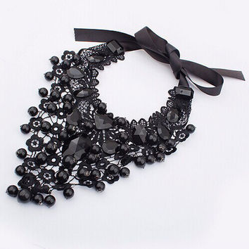 Colier Gothic Female Jewelry Black Lace Necklaces & Pendants Short Choker Women Accessories False Collar Statement Necklace