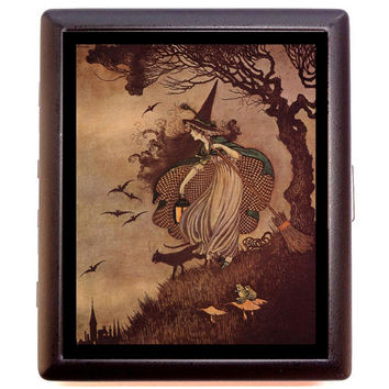 Halloween Witch Woman Spooky Forest Goth Horror Cigarette or Business Card Case or Metal ID wallet