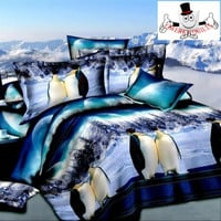 3D Bed Set Blue Antarctic Penguin Bedding Set and Quilt Cover