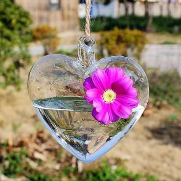 Clear Heart Glass Hanging Glass Vase Bottle Terrarium Flower Home