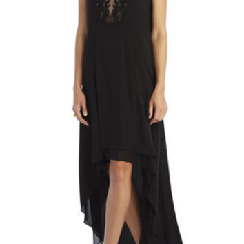 BCBG Cassidy Sleeveless Embroidered Lace Yoke Dress