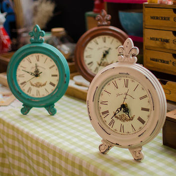 Wooden Weathered Vintage 3-color Gifts Decoration Clock [6282879814]