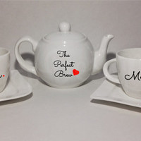 The Perfect Brew Mr & Mrs Heart Tea Set with Teapot, 2 Teacups and 2 Saucers. Valentines Day. Engagement, Wedding, Birthday Gift.