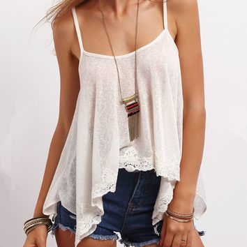 Irregular Lace Strappy Camisole