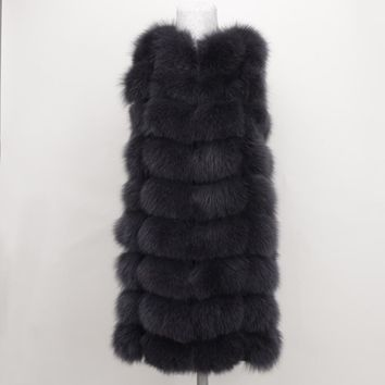 100% Real Fox Fur Vest Natural Whole Fox Fur Vest Gilet Women Regular Standard Covered  Jackets Coat