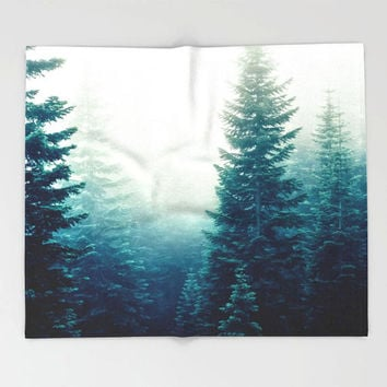 Evergreen Trees Forest, Fleece Throw Blanket, Nature Decor, Home Decor