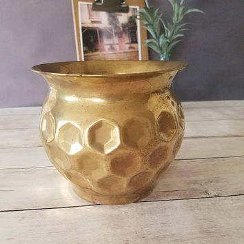 Vintage Brass Planter/ Brass Pot/ Indoor Planter/ Succulent Planter/ Hexagon/ Geometric/ Brass Container/ Brass Vase/ Brass Storage