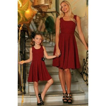 Ruby Red Floral Sleeveless Skater Fit and Flare Mother Daughter Dress