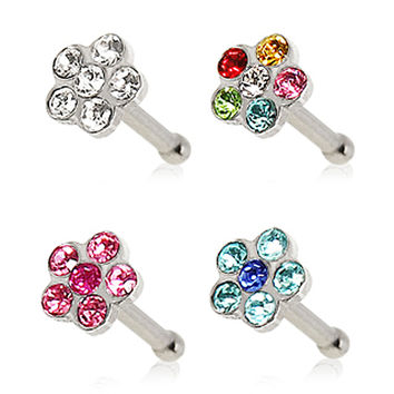 316L Surgical Steel Bone Nose Ring with Multi Glass/Gem Flower Top