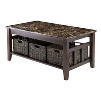 Winsome Wood Faux Marble Top Zoey Coffee Table Living Room Tea  New Free Ship