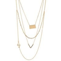 Gold Asymmetrical Layering Necklaces - 2 Pack by Charlotte Russe