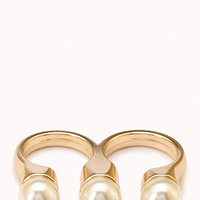Faux Pearl Two-Finger Ring | FOREVER 21 - 1079355891