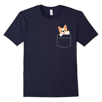 Funny Dog Lover Gifts T-shirt Cute Corgi Puppy Pocket Shirt