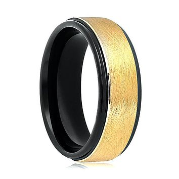 Aydins Gold & Black Tungsten Carbide Wedding Band Brushed Center 8mm Tungsten Mens Wedding Ring