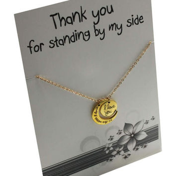 Love you to the moon and back Gold toned Gift Card Necklace