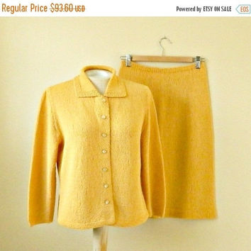 SALE Vintage Hand Knit Cardigan Sweater & Skirt Set, 1960s Knit Suit, Mustard Yellow, Size Medium.