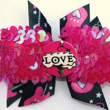 hot pink and black rockstar hair bow-sequins-back to school