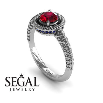 Unique Engagement Ring 14K White Gold Vintage Art Deco Victorian Ring Edwardian Ring Filigree Ring Ruby With Sapphire - Penelope