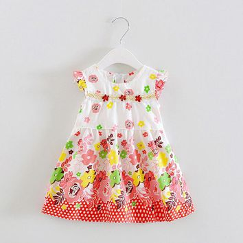 girls dress fashion girls print clothes Baby sleeveless kids clothes girl party dresses new infant baby clothes