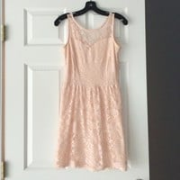 Blush strapless lace dress