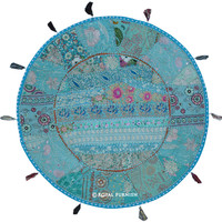 "32""  Large Sky Blue Indian Patchwork Round Floor Pillow on RoyalFurnish.com"