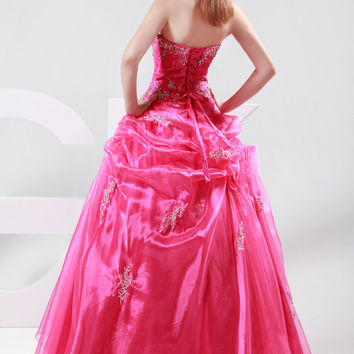 Rose Red Off Shoulder Beaded Corset Ruffled Evening Dress