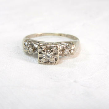 Vintage Diamond Ring / set in 14k white gold / Engagement ring / Unique promise ring / illusion mount diamond / wedding / Art Deco