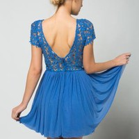 Blue Floral Lace Bodice Dress with Deep-V Back