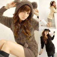 Women's Girls Teddy Bear Ear Long Warm Fleece Hoodie Tops Ladies Zip Jacket Coat