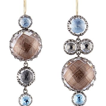 Larkspur & Hawk Sadie Mis Matched Bubble Earrings - Blue Multicolor Rhodium Washed Sterling Silver Earrings