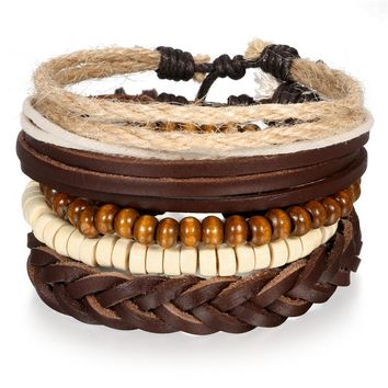 SHIPS FROM USA Leather Bracelet Fashion Bracelets & Bangles Women Trendy Multi Rows Wood Bead Charm Leather Wrap Bracelet