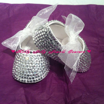 Silver Diamonte / Diamante Baby Bling shoes  0-3 , 3-6 , 6-12 months