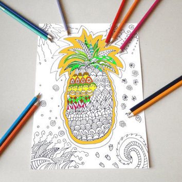 tropical pineapple adult coloring page instant download colouring book bakery draw meditation zen printable print digital lasoffittadiste