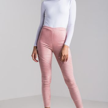 AKIRA High Rise Faux Suede Stretchy Soft Moto Leggings in Rose