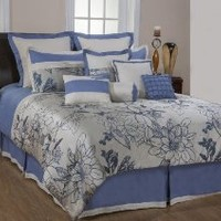 Bednlinens 5th & Bloom 8 Pc Set Bed in a Bag Comforter, Blue/Silver Queen