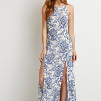 Paisley High-Slit Maxi Dress